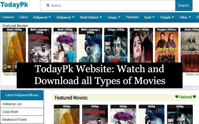 TodayPk Website: Watch and Download all Types of Movies